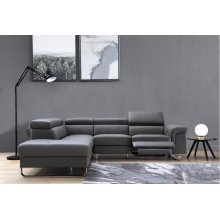 Divani Casa Chaz Modern Grey Leather Sectional Sofa w/ Recliner