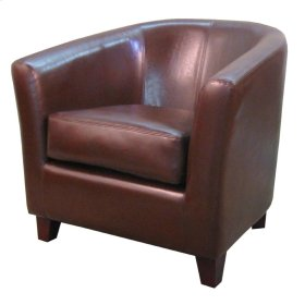 Hayden BONDED Leather Tub Chair, Saddle Brown
