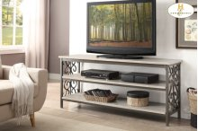 """62"""" TV Stand / Sofa Table with Faux Marble Top"""