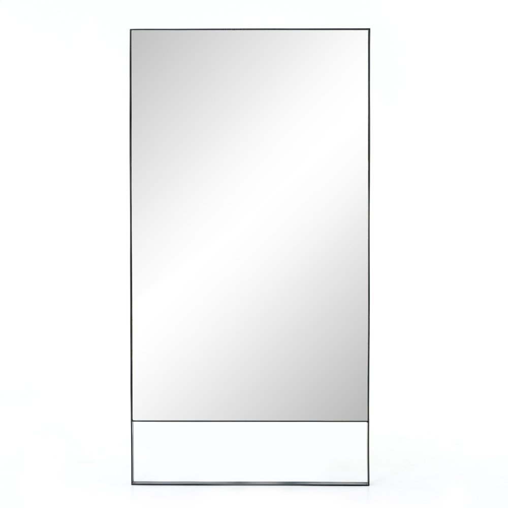 Black Silver Steel Finish Luna Mirror