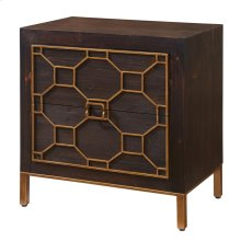 Fairmont Side Table 2 Drawers Antique Gold Legs, Rustic Brown
