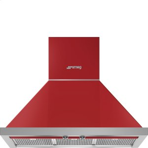 "Smeg30"" Portofino Chimney Hood, Red"