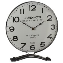 Retro Grey & Black Enamel Desk Clock.