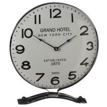 Retro Grey & Black Enamel Desk Clock.