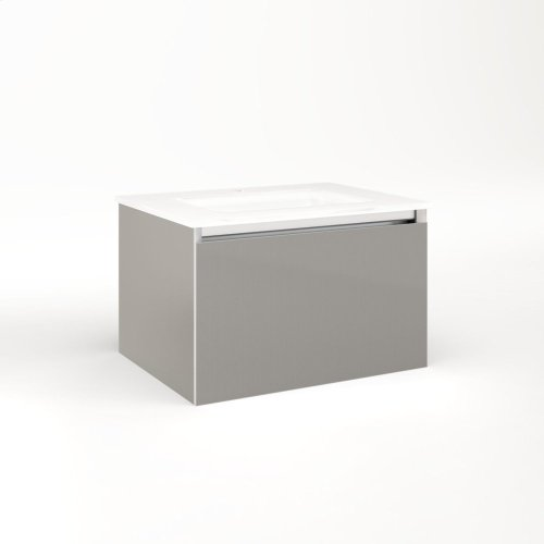"""Cartesian 24-1/8"""" X 15"""" X 18-3/4"""" Single Drawer Vanity In Silver Screen With Slow-close Plumbing Drawer and No Night Light"""