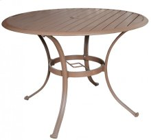 "Island Breeze Slatted Aluminum 48"" Round Dining Table with umbrella hole"