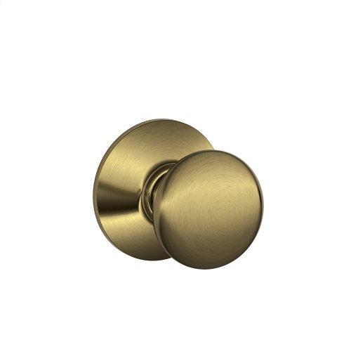 Plymouth Knob Hall & Closet Lock - Antique Brass