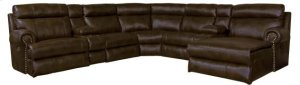 CATNAPPER 62056-2058-2057-62053 4-Pc Ashton Sectional Power Headrest Power LAF Reclining Sofa, Wedge, Armless Chair & Power RAF Reclining Chaise