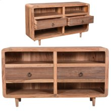 Bengal Manor Cracked Acacia Wood Mid Century Rustic 2 Drawer Console