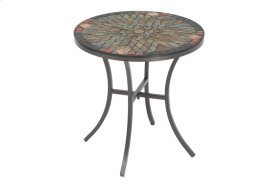 "Sagrada 20"" Round Side Table w/ Ceramic Tile Top & Iron Base"