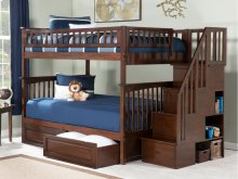 Columbia Staircase Bunk Bed Full over Full with Raised Panel Bed Drawers in Walnut