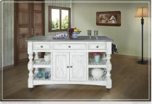 Kitchen Island w/3 Drawer, 2 doors, 4 Shelves & casters
