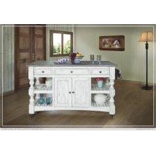 Kitchen Island w/3 Drawer, 2 doors, 4 Shelves & casters