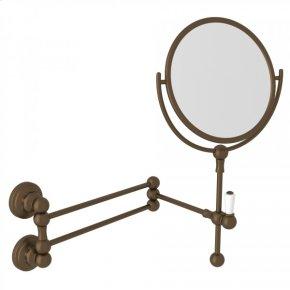 English Bronze Perrin & Rowe Edwardian Wall Mount Shaving Mirror