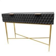 Reggie Geometric Console Table 2 Drawers Gold Legs, Glossy Black *NEW*