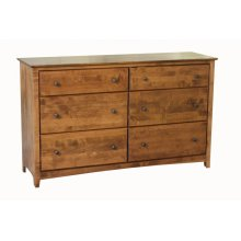 Alder Shaker 6 Drawer Double Dresser
