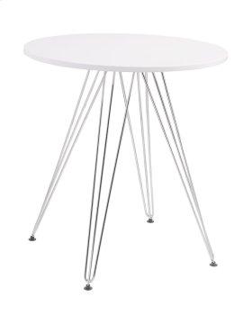 "Audrey - Dine Table-round White Top 27.5"" Diameter & Chrome Base"