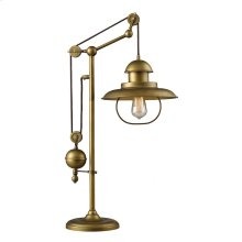 D2252 Farmhouse 1-Light Adjustable Table Lamp in Antique Brass.