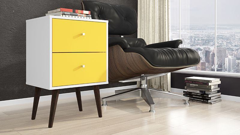 Liberty Mid Century - Modern Nightstand 2.0 with 2 Full Extension Drawers in White and Yellow with Solid Wood Legs