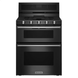 Kitchenaid30-Inch 5 Burner Gas Double Oven Convection Range - Black