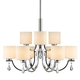 Evette 9 Light Chandelier in Chrome with Opal Glass