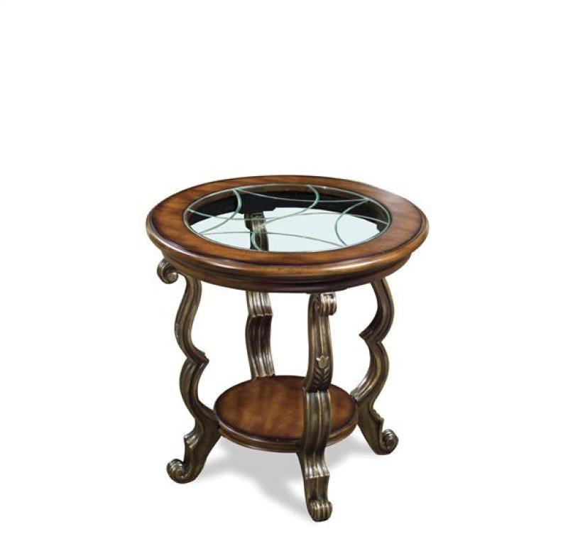 Ambrosia Round Side Table Terra Sienna Finish