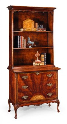 Tall Mahogany Bookcase On Chest