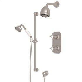 Satin Nickel Edwardian U.KIT52L Thermostatic Shower Package with Edwardian Cross Handle