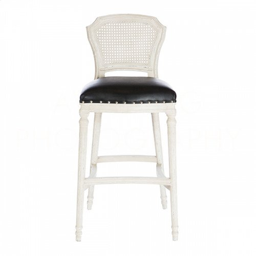 Chelsea Bar Stool in Leather/Cane Back
