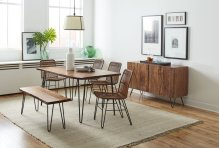 "Nature's Edge 60"" Dining Table With 4 Rattan Chairs and Bench"