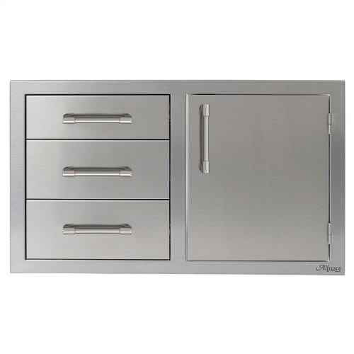 """32"""" Three Drawers with Door On Right"""