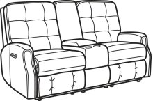 Devon Leather Power Reclining Loveseat with Console and Power Headrests and without Nailhead Trim