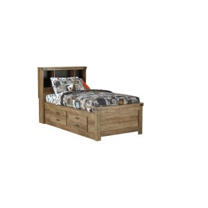 3PC Twin Bookcase Bed, Dr/Mr, Chest