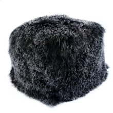 Lamb Fur Pouf Black Snow