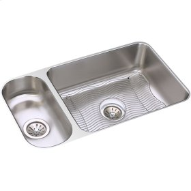 "Elkay Lustertone Classic Stainless Steel 32-1/4"" x 18-1/4"" x 7-3/4"", 30/70 Double Bowl Undermount Sink Kit"