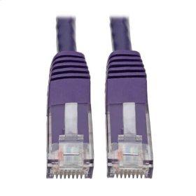 Premium Cat5/5e/6 Gigabit Molded Patch Cable, 24 AWG, 550 MHz/1 Gbps (RJ45 M/M), Purple, 10 ft.