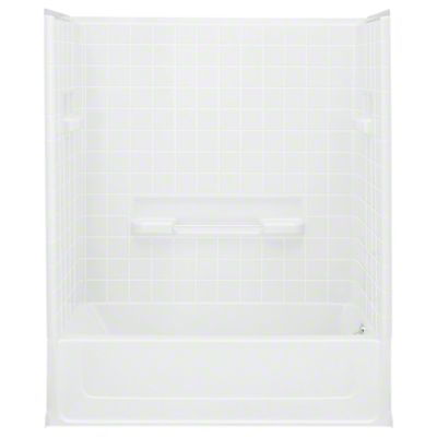 """All Pro®, Series 6104, 60"""" x 30"""" x 73-1/2"""" Bath/Shower with Age in Place Backers - Right-hand Drain - White"""