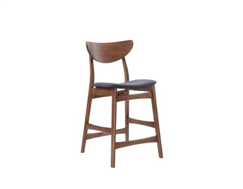 Barstool Wood Back W/uph Blue Seat Set Up