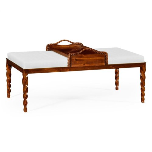 Cocktail Ottoman with Tray Table and Walnut Barleytwist Legs, Upholstered in COM