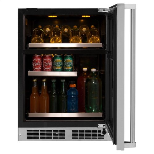 """Marvel Professional 24"""" Dual Zone Wine and Beverage Center - Panel-Ready Framed Glass Door with Lock - Integrated Right Hinge (handle not included)*"""