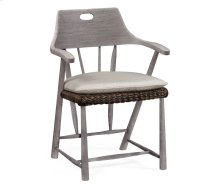 Smokers Style Grey & Rattan Dining Chair with Cushion, Upholstered in Standard Outodoor Fabric