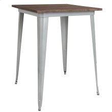 "31.5"" Square Silver Metal Indoor Bar Height Table with Walnut Rustic Wood Top"