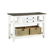 CC-TAB2227TLD-WWSV-B  Cottage Sideboard  Island with Basket  Distressed White and Brown