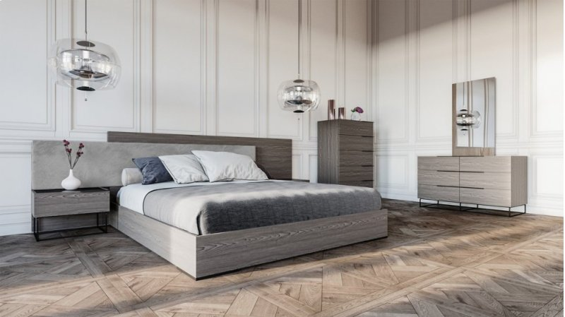Nova Domus Enzo Italian Modern Grey Oak Fabric Bedroom Set