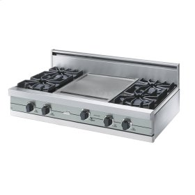 "Sea Glass 42"" Open Burner Rangetop - VGRT (42"" wide, four burners 18"" wide griddle/simmer plate)"
