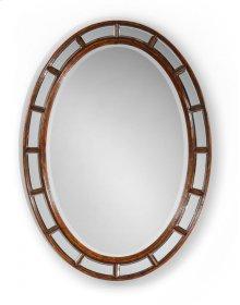 Walnut Framed Oval Panelled Mirror (Plain Glass)