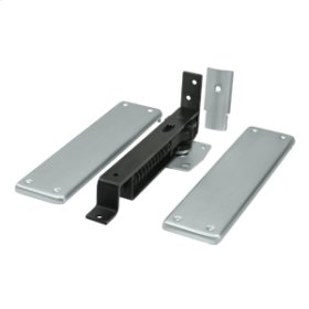 Spring Hinge, Double Action w/ Solid Brass Cover Plates - Brushed Chrome