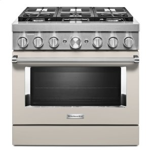 KitchenAidKitchenAid® 36'' Smart Commercial-Style Dual Fuel Range with 6 Burners - Milkshake
