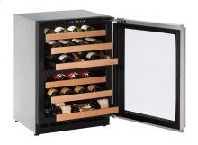 "2000 Series 24"" Wine Captain® Model With Stainless Frame (lock) Finish and Left-hand Hinged Door Swing"