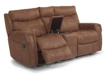 Wyatt Fabric Gliding Reclining Loveseat with Console